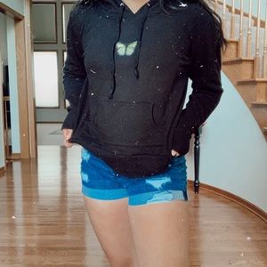 green butterfly patch hoodie